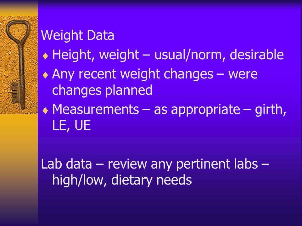 Weight Data Height, weight – usual/norm, desirable. Any recent weight changes – were changes planned.