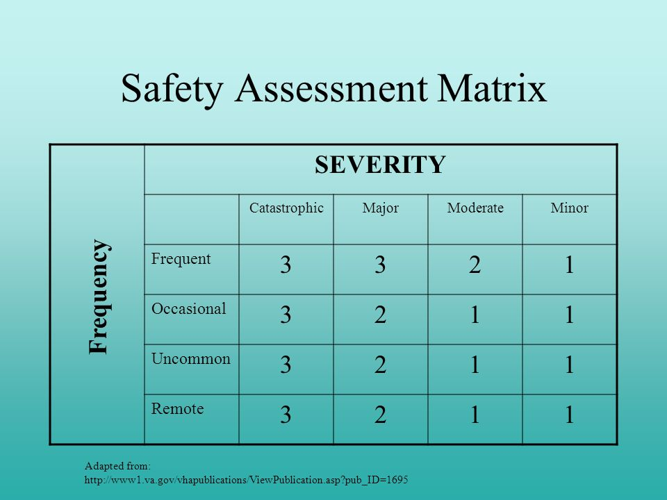 Safety Assessment Matrix