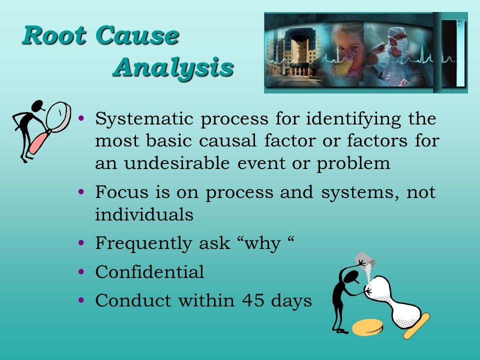 Root Cause Analysis Systematic process for identifying the most basic causal factor or factors for an undesirable event or problem.