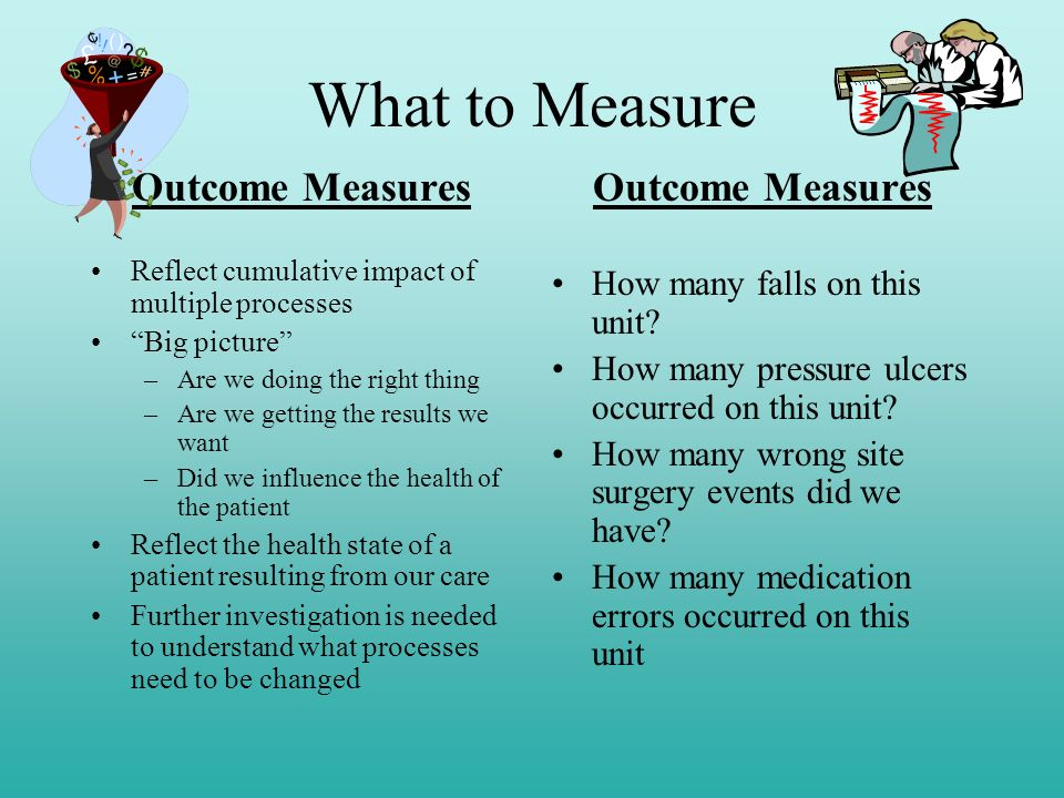What to Measure Outcome Measures Outcome Measures