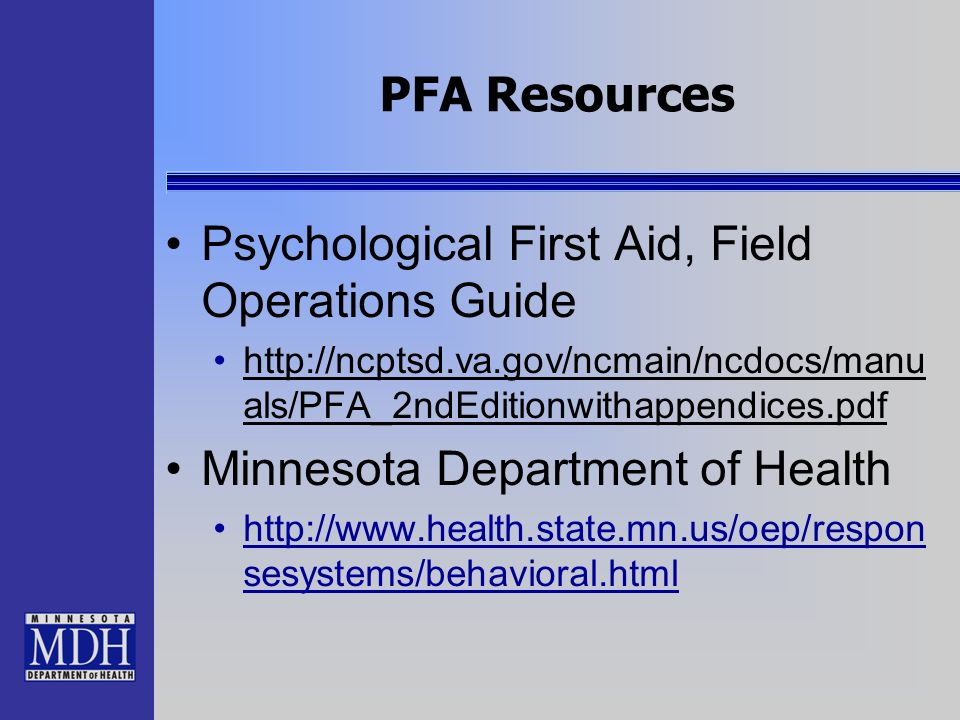Psychological First Aid, Field Operations Guide