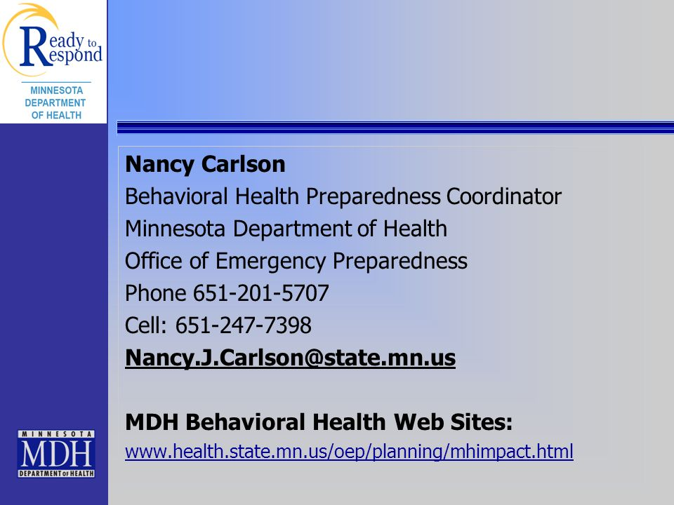 Behavioral Health Preparedness Coordinator