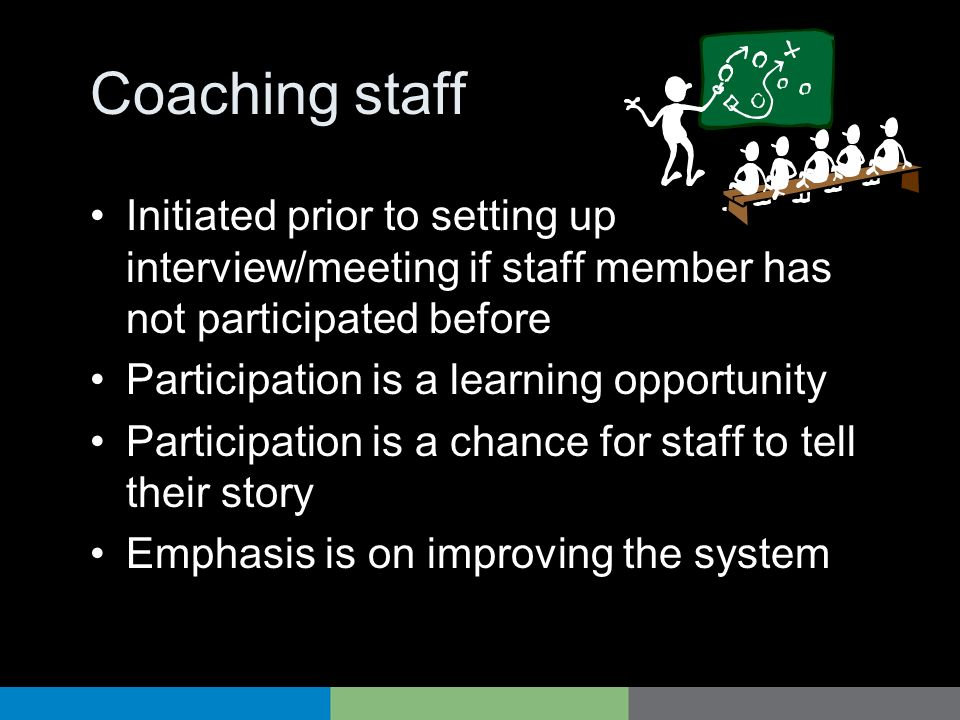 Coaching staff Initiated prior to setting up interview/meeting if staff member has not participated before.