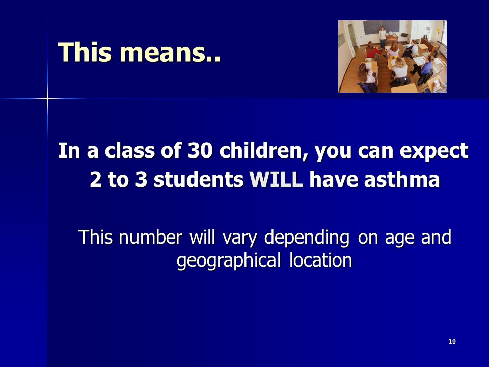 2 to 3 students WILL have asthma