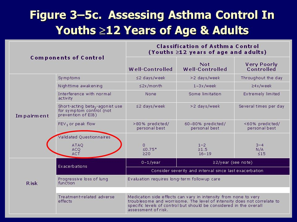 Figure 3–5c. Assessing Asthma Control In Youths 12 Years of Age & Adults