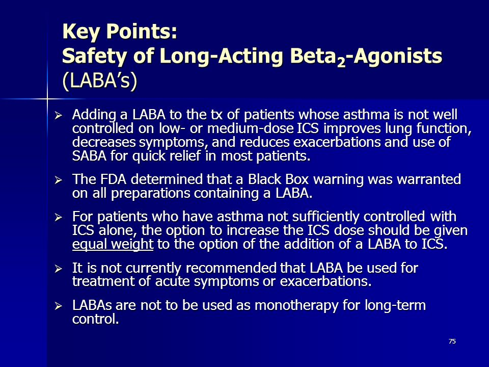 Key Points: Safety of Long-Acting Beta2-Agonists (LABA's)