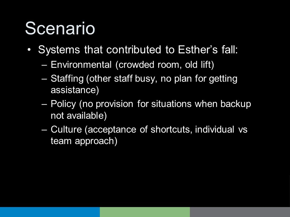 Scenario Systems that contributed to Esther's fall: