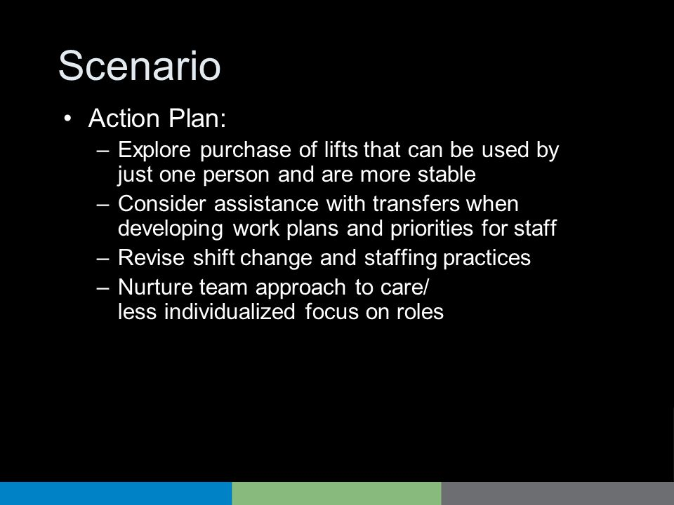 Scenario Action Plan: Explore purchase of lifts that can be used by just one person and are more stable.
