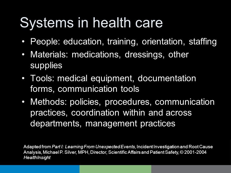 Systems in health care People: education, training, orientation, staffing. Materials: medications, dressings, other supplies.