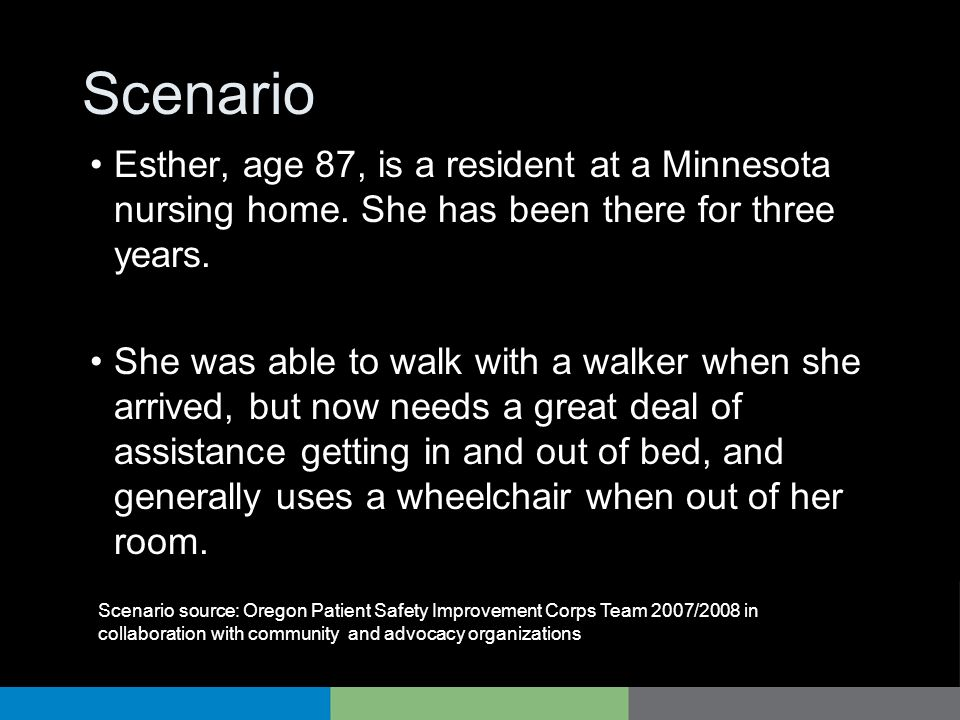 Scenario Esther, age 87, is a resident at a Minnesota nursing home. She has been there for three years.