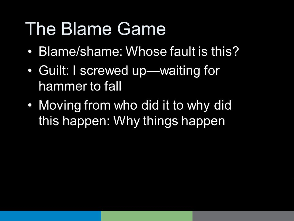 The Blame Game Blame/shame: Whose fault is this