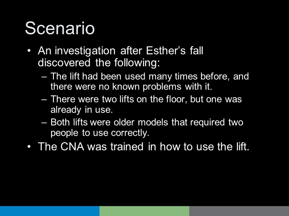 Scenario An investigation after Esther's fall discovered the following: