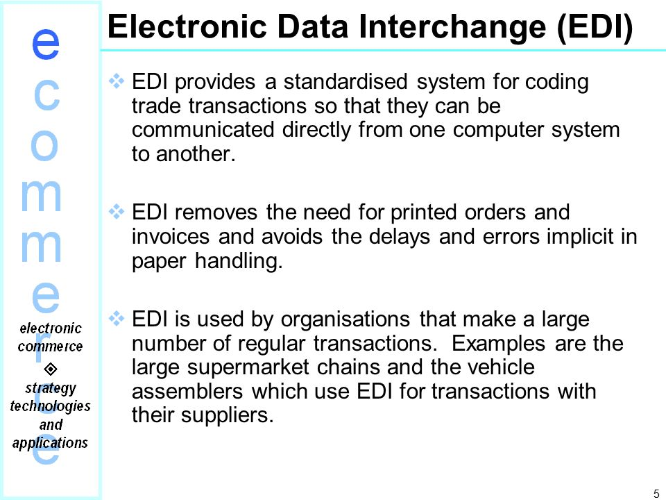 electronic data interchanged essay The exchange of data in a standardized format through computer systems is known as electronic data interchange (edi.