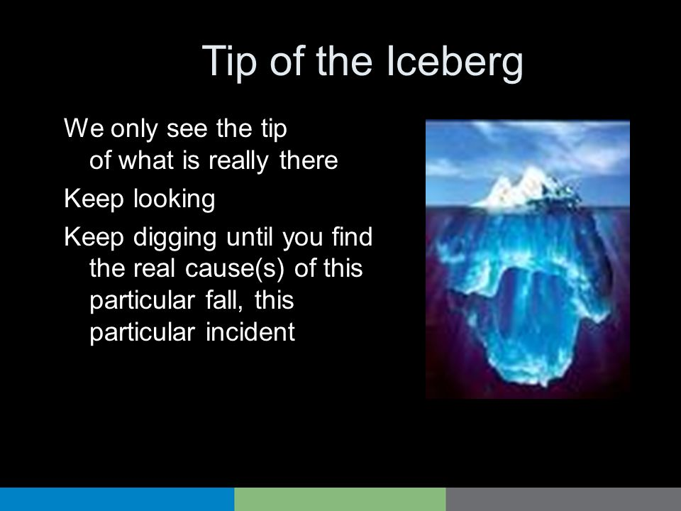 Tip of the Iceberg We only see the tip of what is really there
