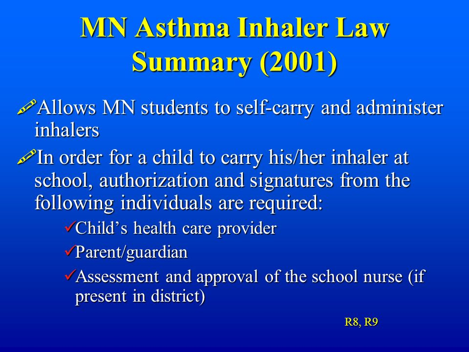 MN Asthma Inhaler Law Summary (2001)