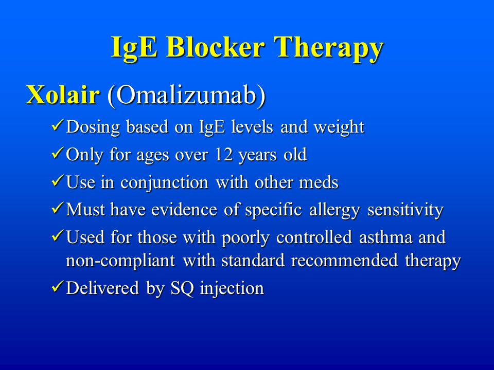 IgE Blocker Therapy Xolair (Omalizumab)
