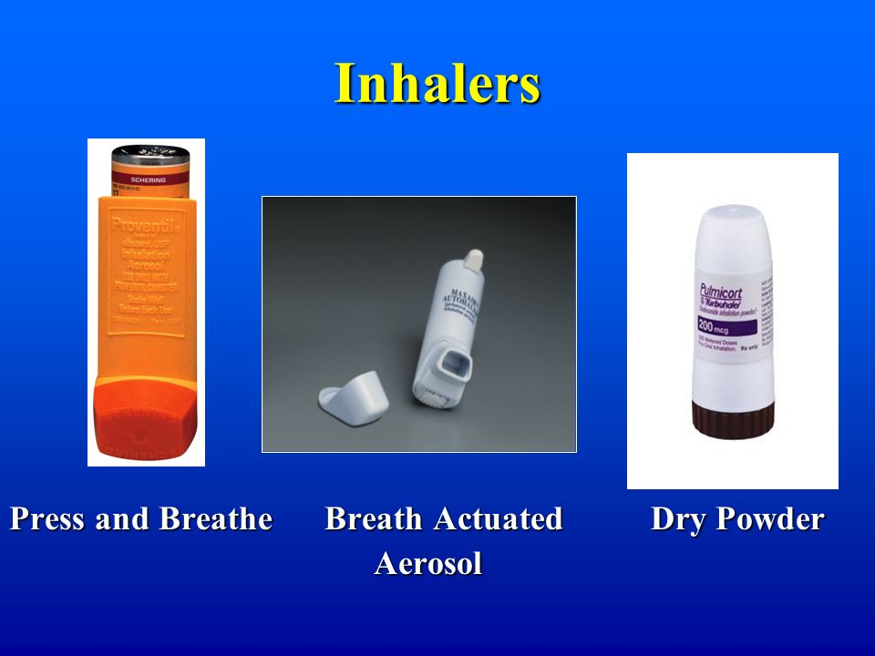 Inhalers Press and Breathe Breath Actuated Dry Powder Aerosol