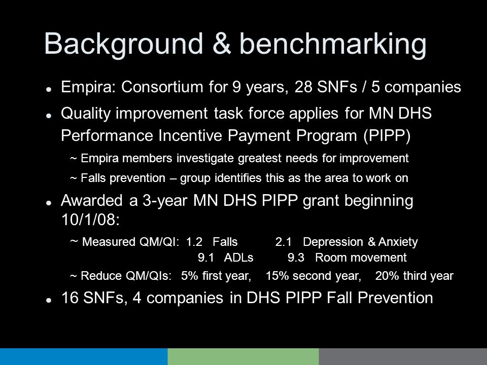 Background & benchmarking