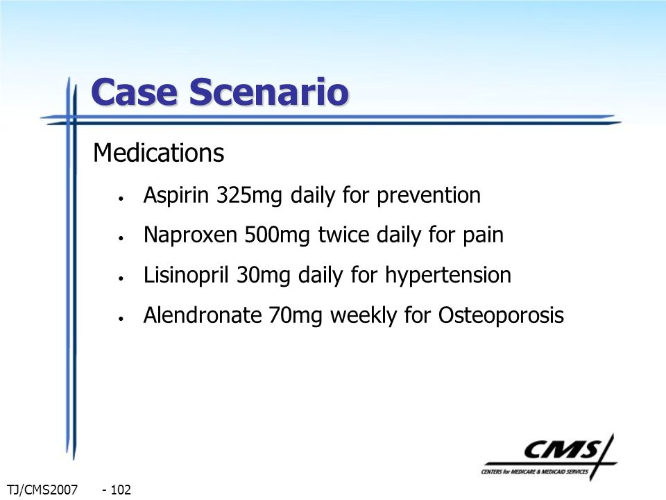 Case Scenario Medications Aspirin 325mg daily for prevention
