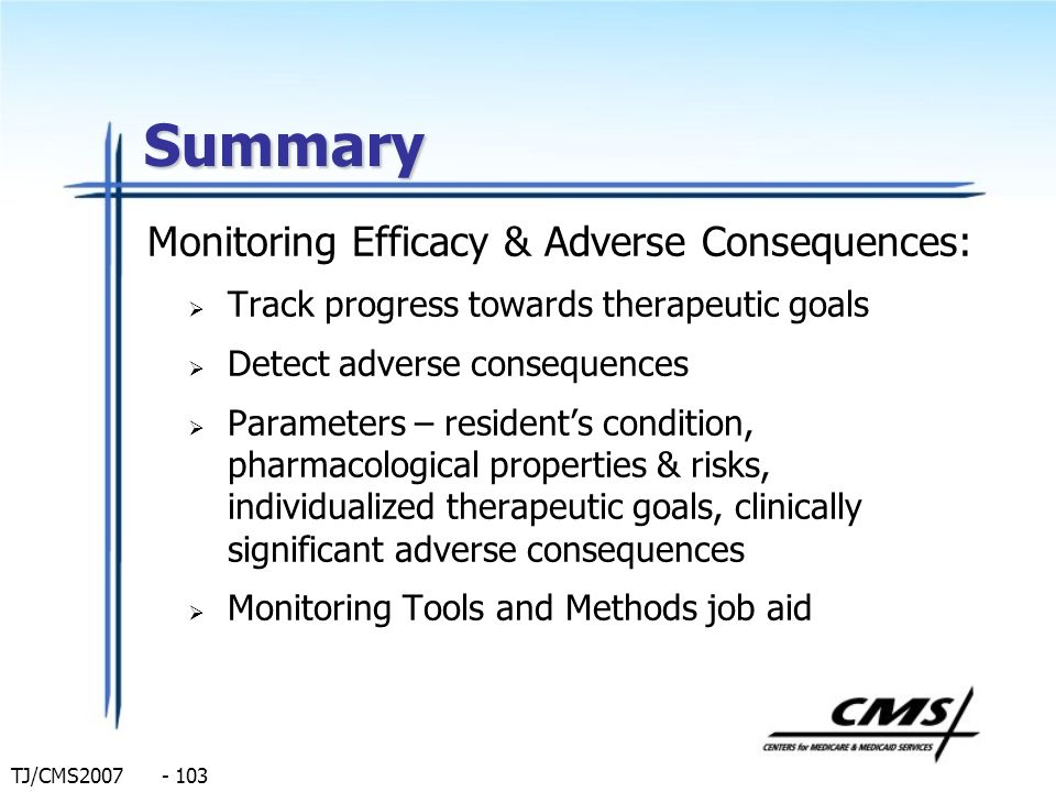 Summary Monitoring Efficacy & Adverse Consequences: