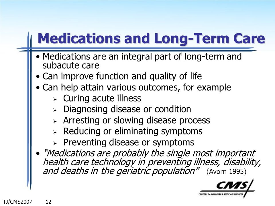 Medications and Long-Term Care