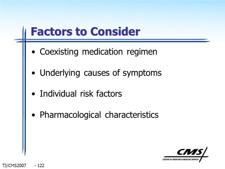 Factors to Consider Coexisting medication regimen