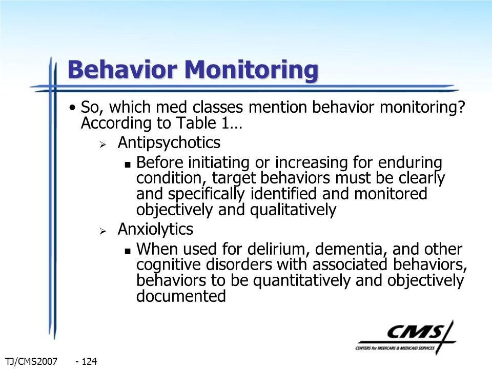 Behavior Monitoring So, which med classes mention behavior monitoring According to Table 1… Antipsychotics.