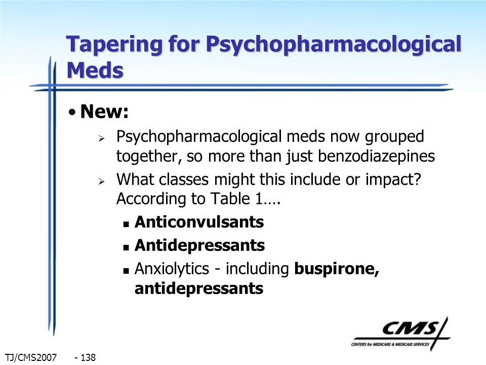 Tapering for Psychopharmacological Meds