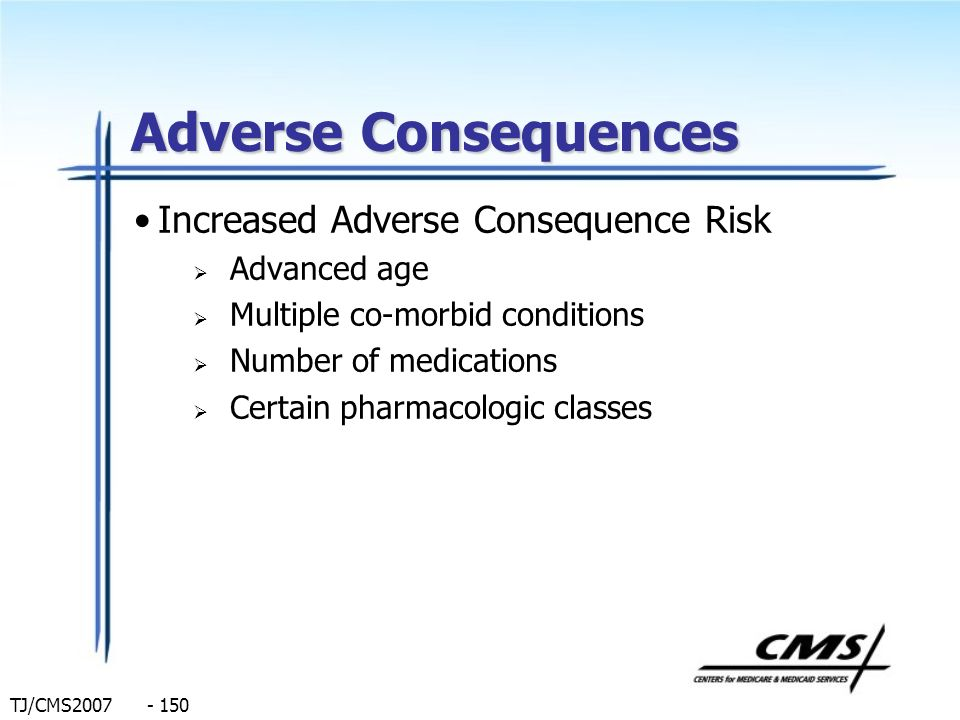 Adverse Consequences Increased Adverse Consequence Risk Advanced age