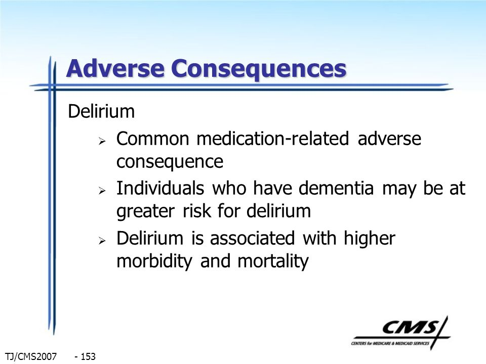 Adverse Consequences Delirium