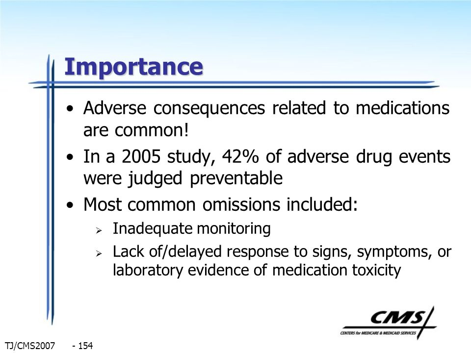 Importance Adverse consequences related to medications are common!