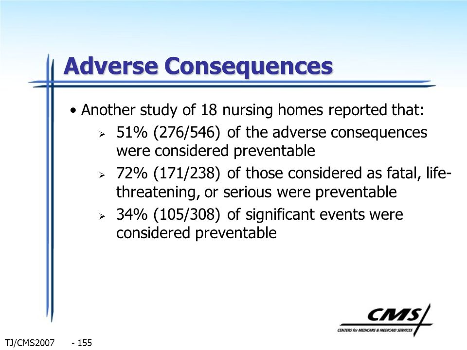 Adverse Consequences Another study of 18 nursing homes reported that: