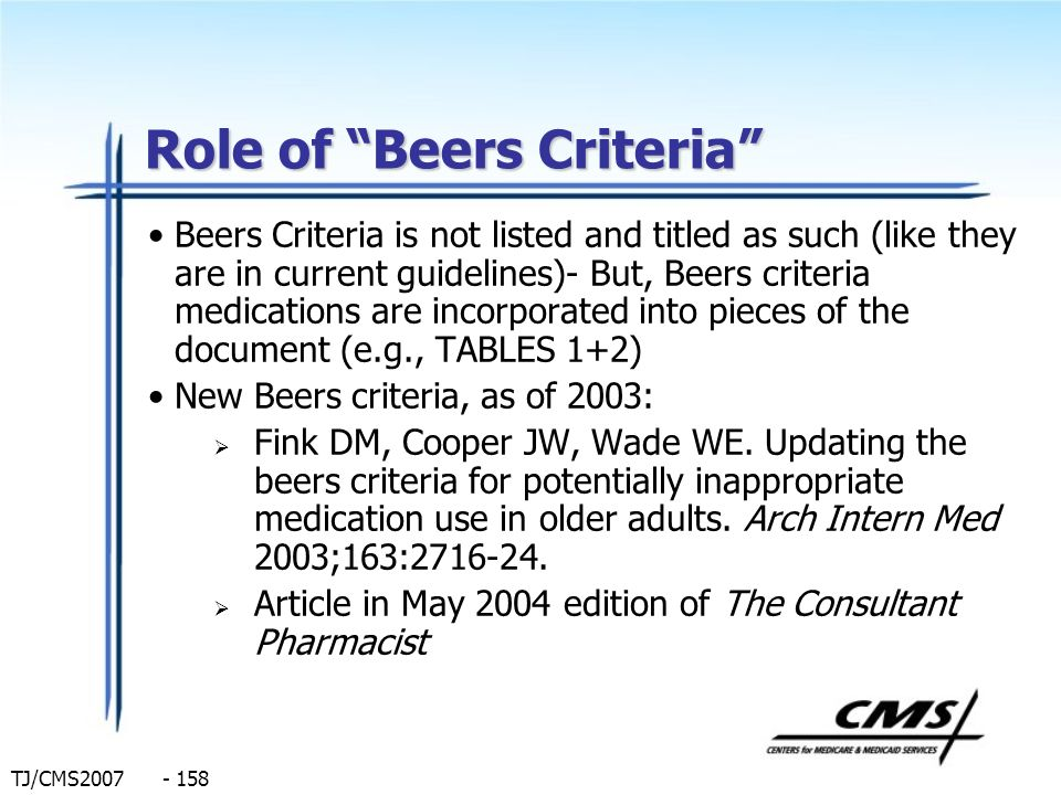 Role of Beers Criteria