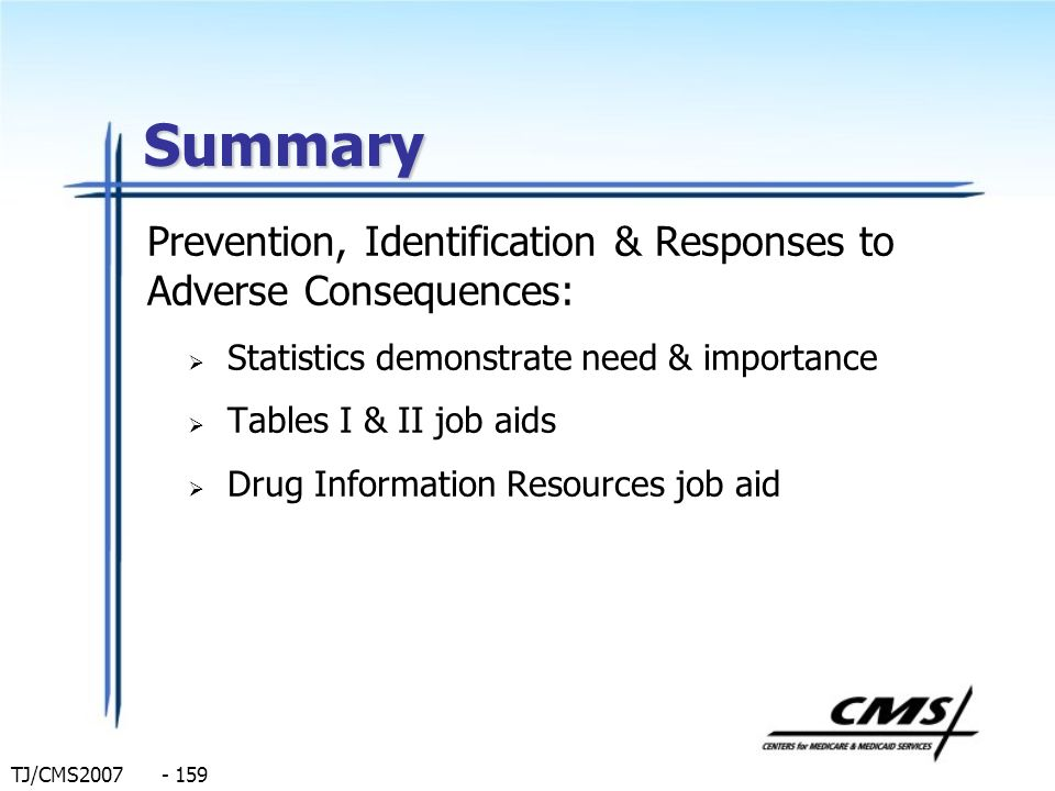 Summary Prevention, Identification & Responses to Adverse Consequences: Statistics demonstrate need & importance.