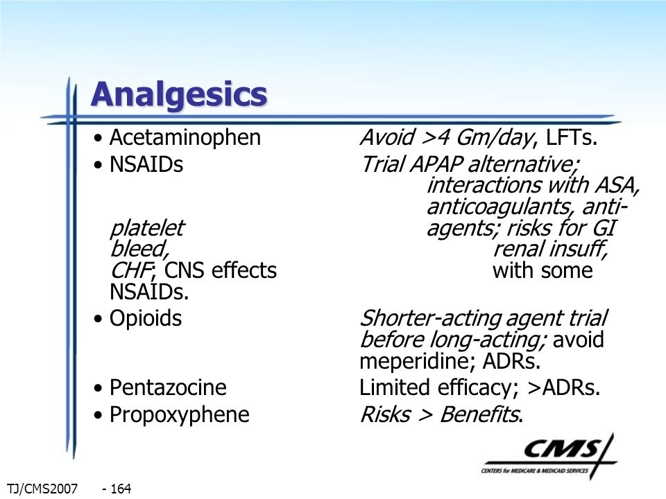 Analgesics Acetaminophen Avoid >4 Gm/day, LFTs.