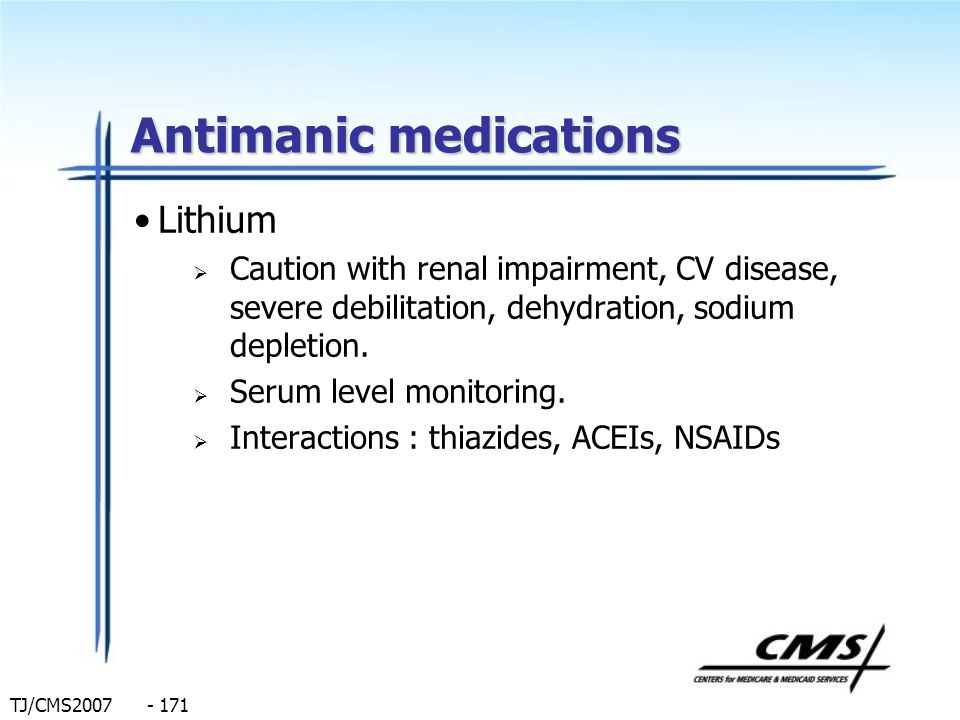 Antimanic medications