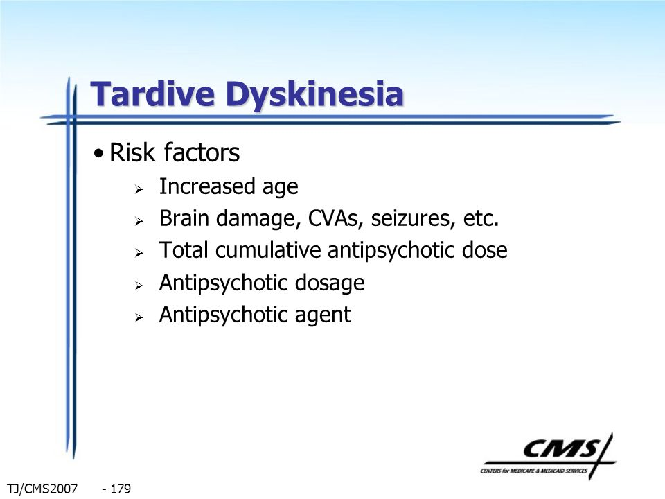 Tardive Dyskinesia Risk factors Increased age