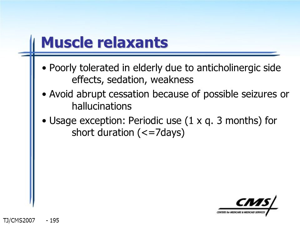 Muscle relaxants Poorly tolerated in elderly due to anticholinergic side effects, sedation, weakness.
