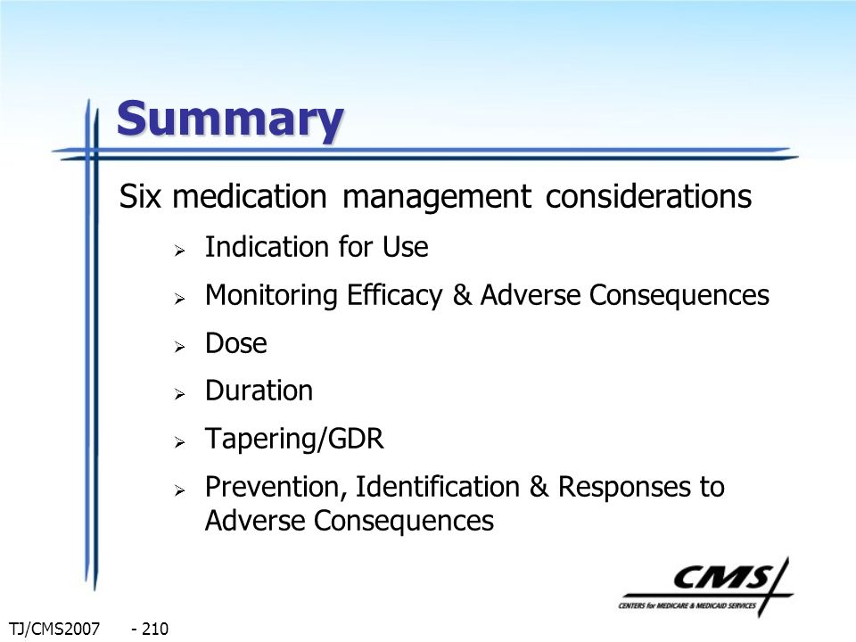 Summary Six medication management considerations Indication for Use