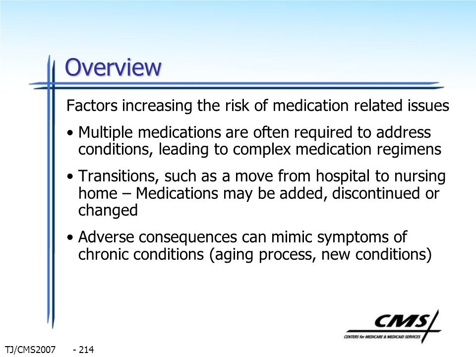 Overview Factors increasing the risk of medication related issues