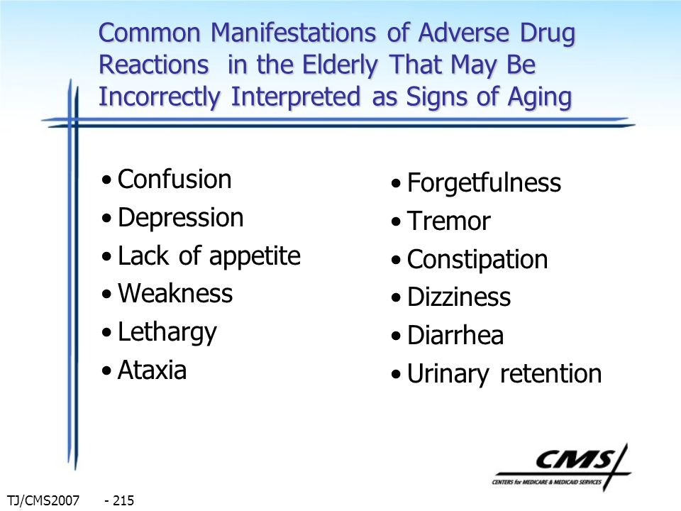 Common Manifestations of Adverse Drug Reactions in the Elderly That May Be Incorrectly Interpreted as Signs of Aging
