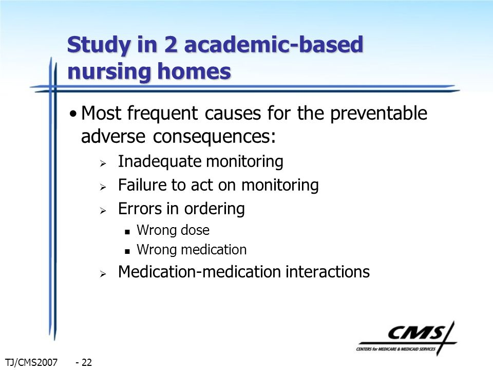 Study in 2 academic-based nursing homes
