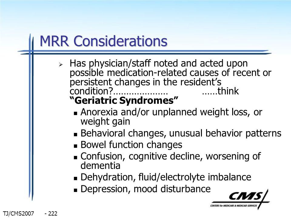 MRR Considerations