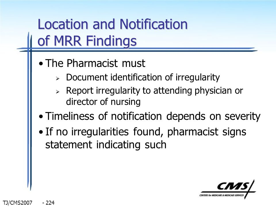 Location and Notification of MRR Findings