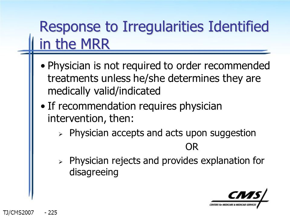 Response to Irregularities Identified in the MRR