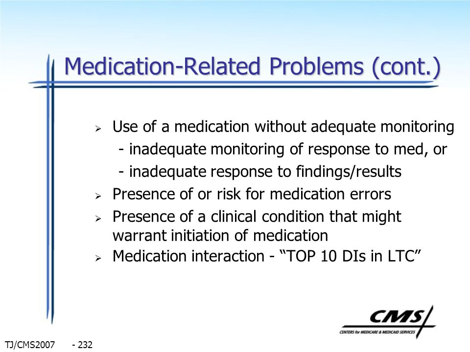 Medication-Related Problems (cont.)