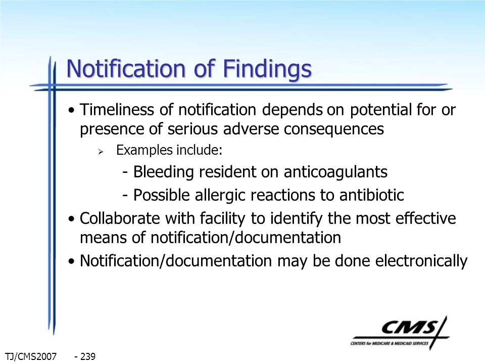 Notification of Findings