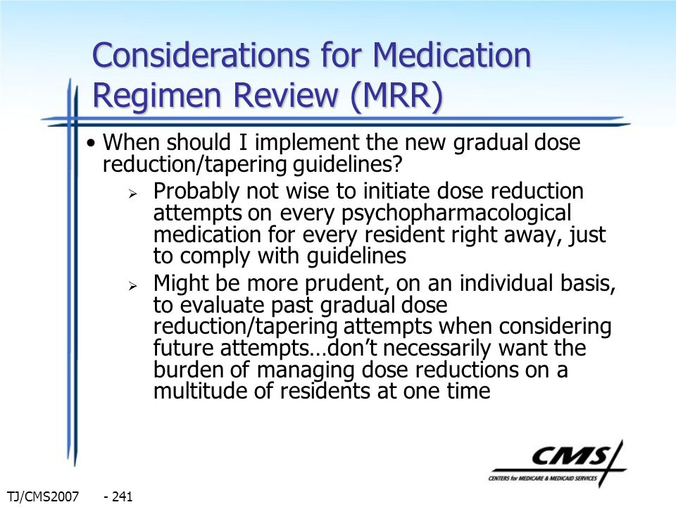 Considerations for Medication Regimen Review (MRR)