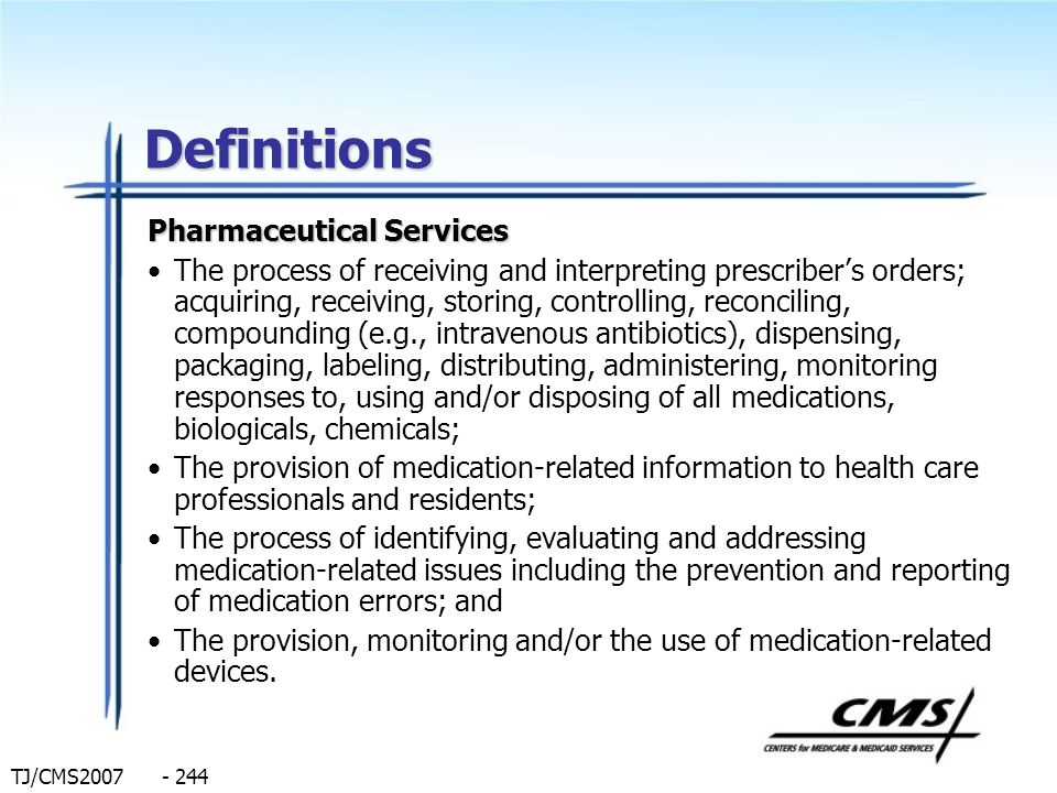Definitions Pharmaceutical Services