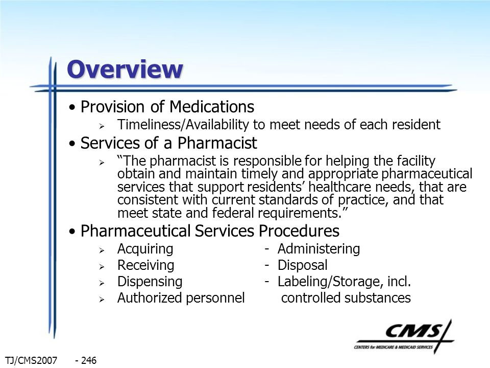 Overview Provision of Medications Services of a Pharmacist